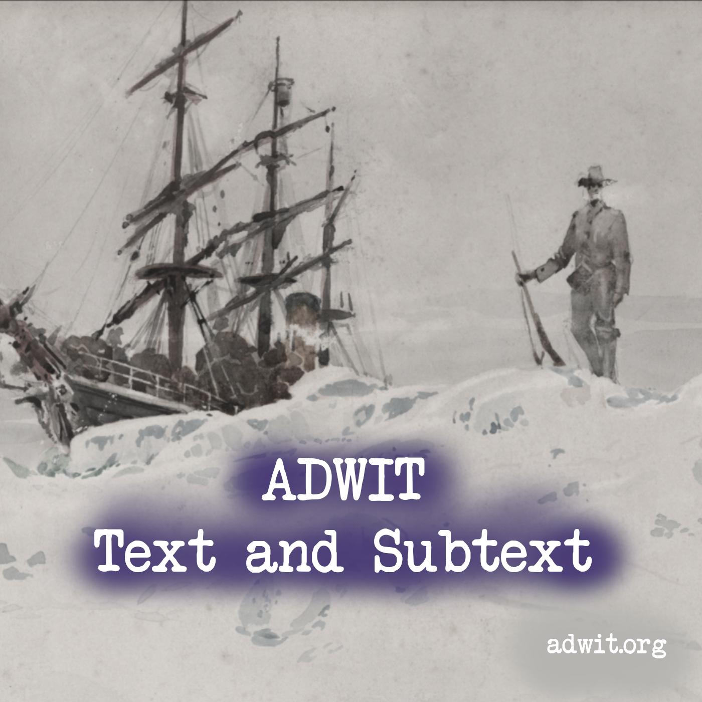 Background: A man wearing a cowboy hat and holding a rifle, stands on an iceberg, with a sailing vessel stuck in the ice in the background. Watercolor by R. W. Porter, 1901, from the Baldwin-Ziegler Polar Expedition. U.S. National Archives.